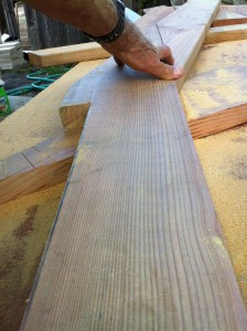 Making the split pitch barge rafter.